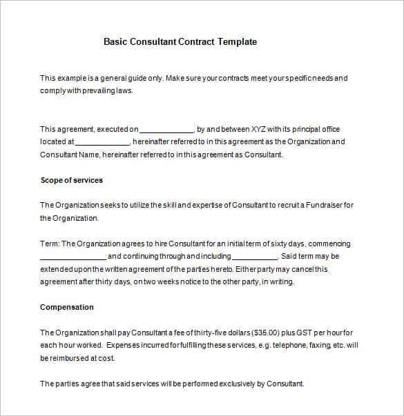 basic consultant contract template download min
