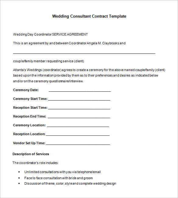 wedding consultant contract format template for wedding