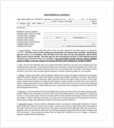 42 Contract Templates – Snow Plowing Contract Template