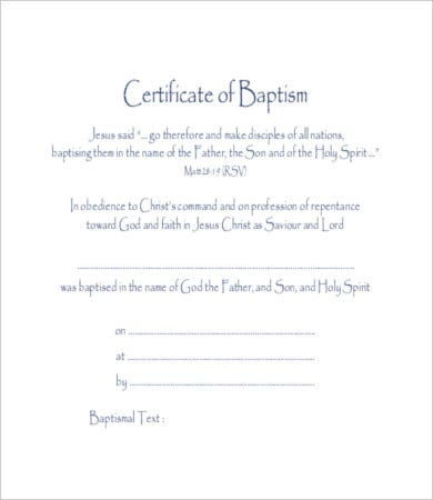 Baptism Certificate Template   Free Pdf Documents Download