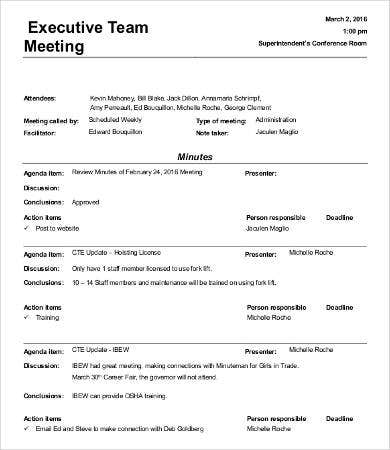 informal staff meeting minutes template