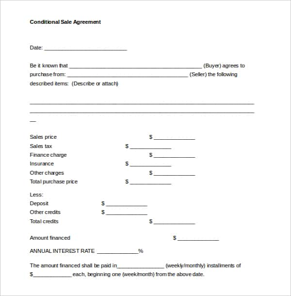 conditional sales agreement template word document min