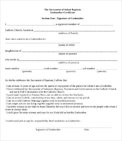 infant baptism certificate