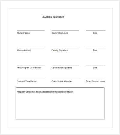 42 Contract Templates – Learning Contract Template