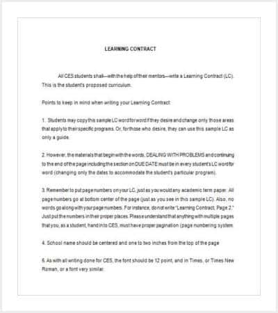 Learning Contract Template Research Design Template Sample Student