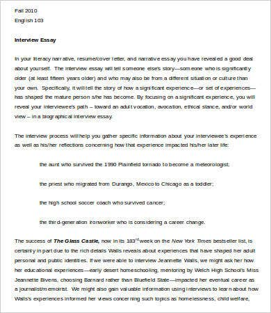 Example Interview Essay Template