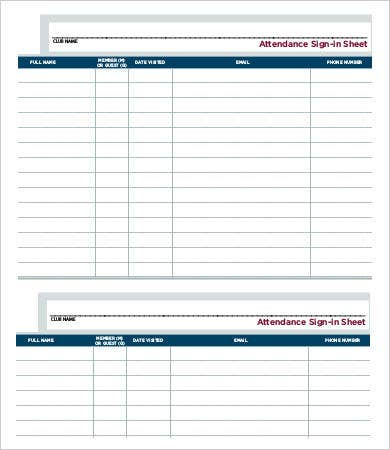 sample attendance sign in sheet template