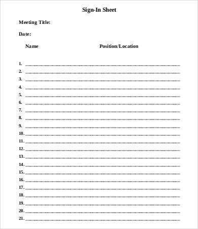 Meeting Sign In Sheet Template   Free Word Pdf Documents