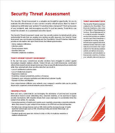 Threat Assessment Templates - 9+Free Word, Pdf Documents Download