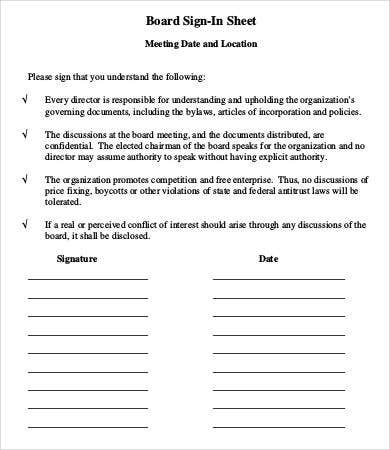 board meeting sign in sheet template