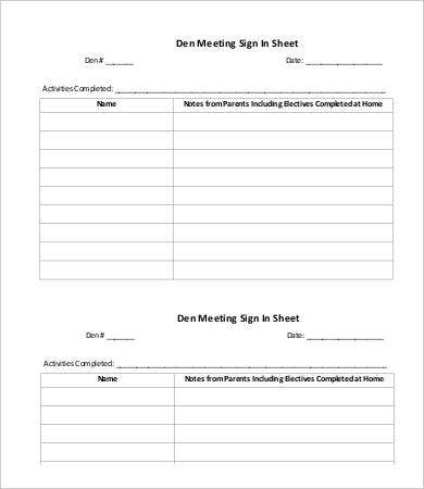 Meeting Sign In Sheet Template - 9+ Free Word, Pdf Documents