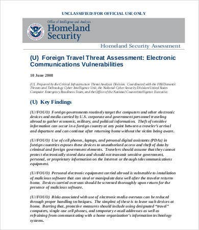travel threat assessment