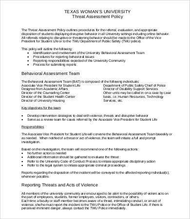 Sample Threat Assessment Sample Threat Assessment Documents In Pdf