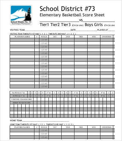 Basketball Play Sheets Templates Doc  Softball Score Sheet