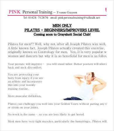 personal training letterhead