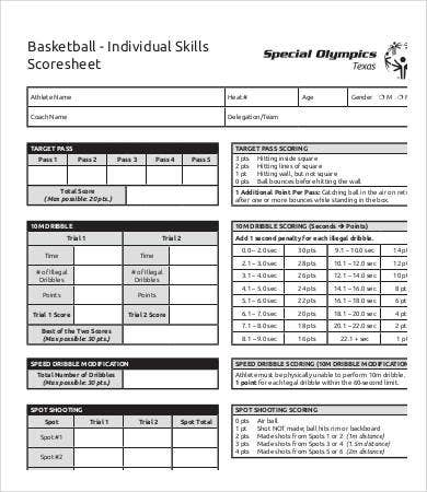 Basketball Score Sheet Free Pdf Documents Download Free