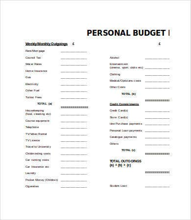 personal budget template word