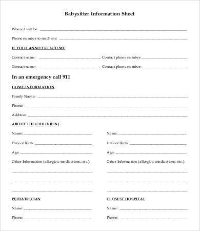 Babysitter Information Sheet Template   Free Word Pdf