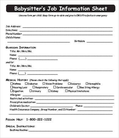 Babysitter Information Sheet Template - 6+ Free Word, Pdf