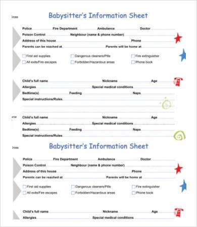 Ambitious image for babysitter information sheet printable