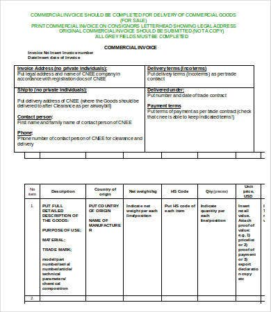 Commercial Invoice Template - 7+ Free Word, Pdf Documents Download