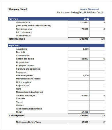company income statement template excel