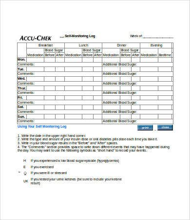 Blood Sugar Log   Free Word Excel Pdf Documents Download  Free