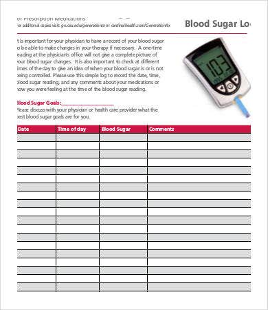 excel blood glucose log sheet