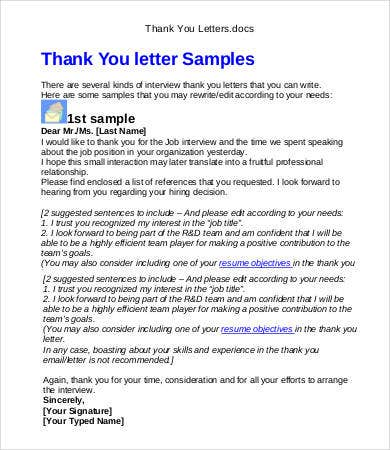 After Second Interview Thank You Letter Samples Sample Interview Thank You 6 Free Word PDF Documents Download