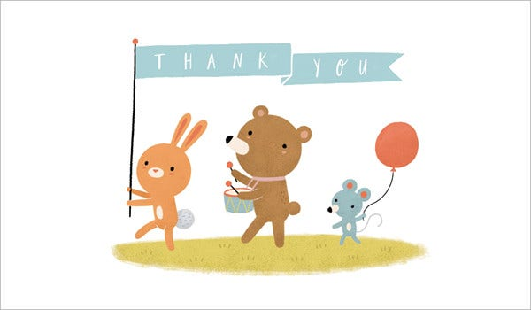 parade baby shower thank you card