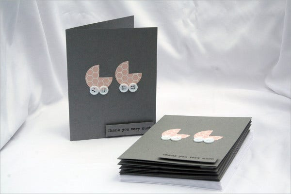 baby shower thank you card for twins