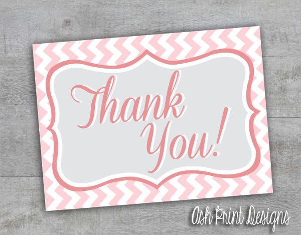 Baby Girl Shower Thank You Card
