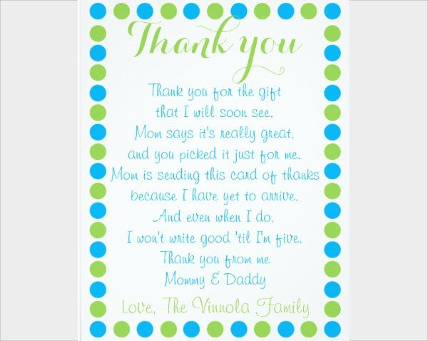 Baby Boy Shower Thank You Card