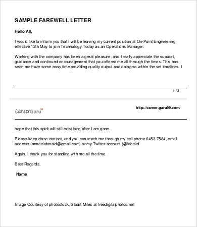 Farewell Emails To Colleagues   Free Word Pdf Documents