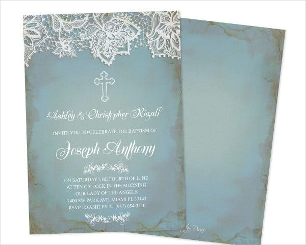 Editable Baptism Invitation Template