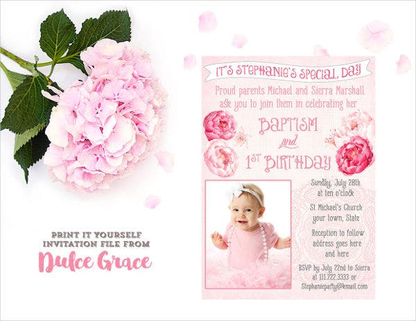 baptism and birthday invitation template