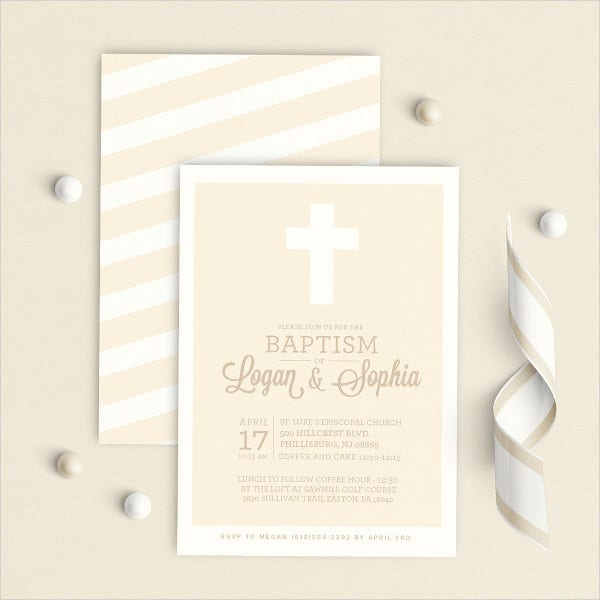 Twin Baptism Invitation Template