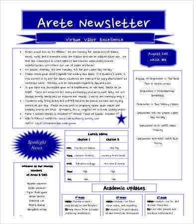 school newsletter format