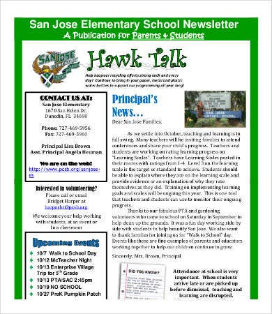 elementary school newsletter format
