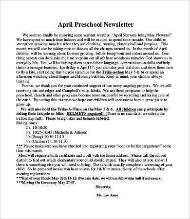 preschool newsletter format