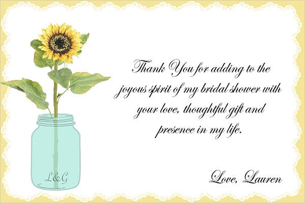 Free Bridal Shower Thank You Card