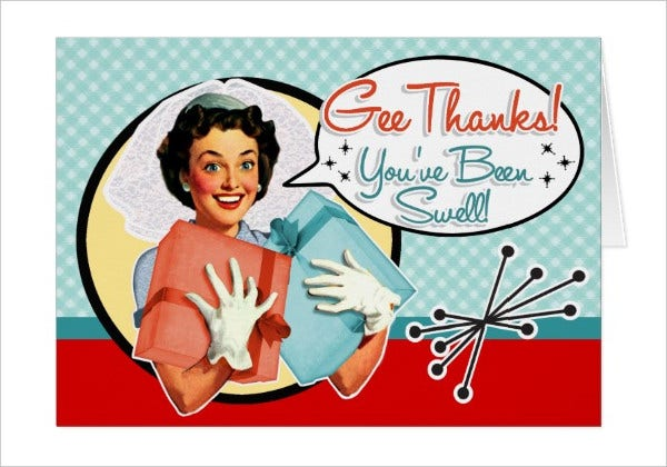 Retro Bridal Shower Thank You Card