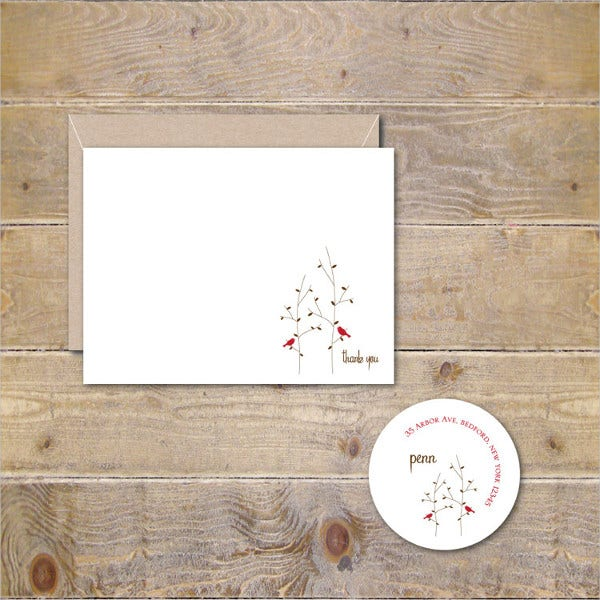 Blank Bridal Shower Thank You Card