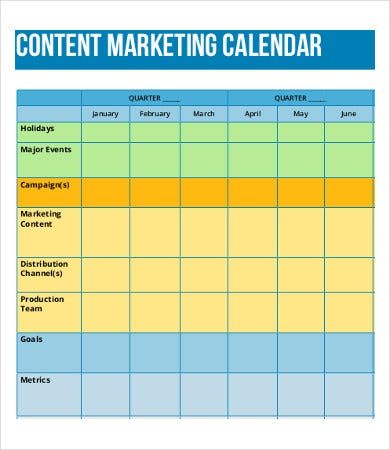 Content Calendar Templates  Free Sample Example Format Download