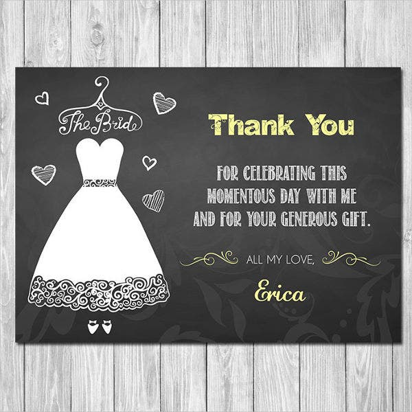 Chalkboard Bridal Shower Thank You Card