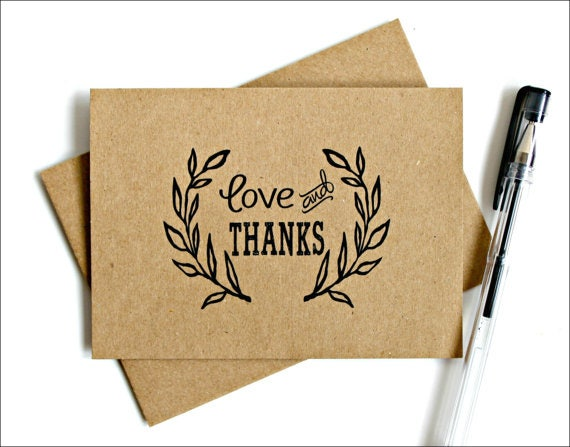 rustic vintage thank you card