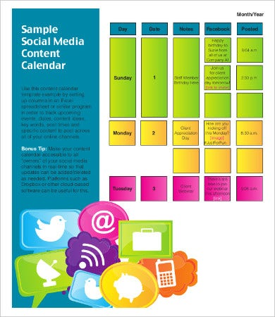 Sample Social Media Calendar | 8 Content Calendar Templates Free Sample Example Format Download