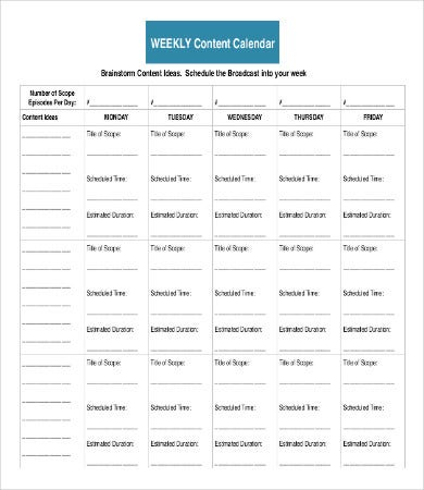 weekly content calendar sample