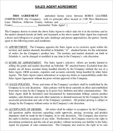 Business Agency Agreement Template Sales Agent Agreement Template