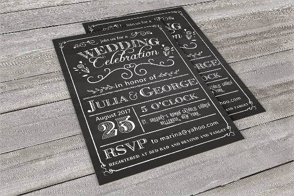 Chalkboard Wedding Card Template